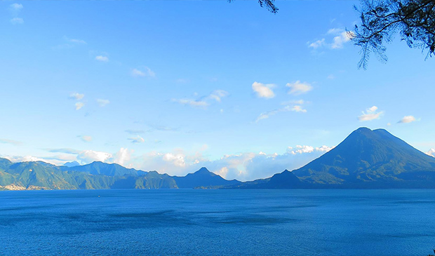 Lake Atitlan and Volcan Toliman on the right